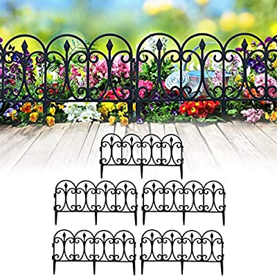 CHAOMIC Decorative Garden Fence 5 Pcs Outdoor Plug-in Fence Garden Landscape Garden Fence Edging Fence for Flower Bed and Pet Barrier Protection