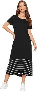 Verdusa Women's Casual Round Neck Short Sleeve Striped Tunic Maxi Dress