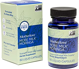 Motherlove More Milk Moringa Vegan Capsules (60 caps) Fenugreek-Free Blended Herbal Lactation Supplement to Support Breast...