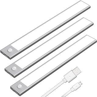 Klighten 3pcs Lampe de Placard 53 LED 30cm Sans Fil, Rechargeable par USB, Aimanté, Détecteur de Mouvement, 3 Modes d'Écla...
