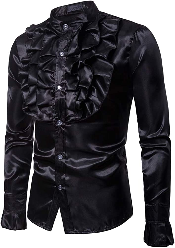Mens Floral Long Sleeve Dress Shirts Prom Wedding Party Button Down Shirts