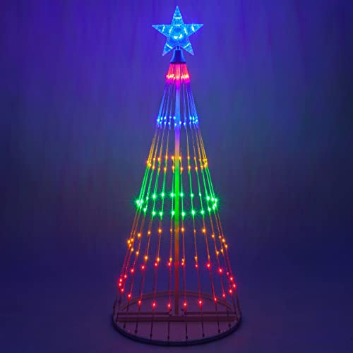 Wintergreen Lighting 14-Function LED Light Show Cone Christmas Tree, Outdoor  Christmas Decorations ( - Animated Outdoor Christmas Decorations: Amazon.com