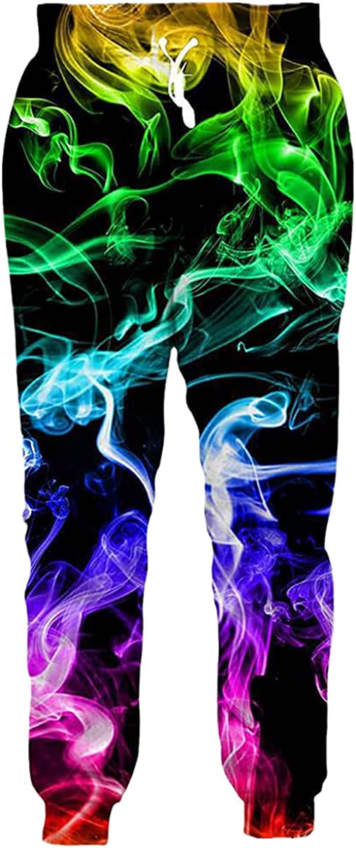 Faxkjeuls Graphic Color Flame 3D Printing Men's Jogging Pants Streetwear Cool Unisex Casual Sports Pants