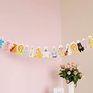 Animal Concert Birthday Banner Forest Music Theme Party Bunting Decoration Party Supplies, Hen Party Supplies, Back to School Decorations, Baby Shower Decor for 1st Birthday Girls Boys