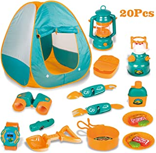 LBLA 20 PCs Kids Camping Set , Pop Up Tent with Kids Camping Gear Set, Pretend Play Camping Toys Tools Set for Kids