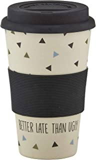 Santa Barbara Design Studio SIPS Drinkware Bamboo Fiber Travel Mug with Silicone Grip and Lid, 13-Ounce, Better Late Than ...