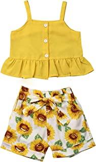 Toddler Baby Girls Strap Floral Outfits Fly Sleeve Ruffle Crop Tops Floral Shorts Skirt 2PCS Clothes Sets