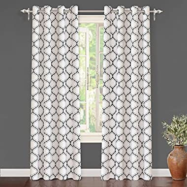 "DriftAway Geometric Trellis Room Darkening/Thermal Insulated Grommet Unlined Window Curtains, Set of Two Panels, each 52""x84"" (Gray)"