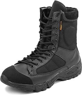 Zapatos de Hombre Botas/Botas de Combate/Botas Tácticas Ultra-Ligero Antideslizante Tela de Cuero Verdadero Transpirable JR-633