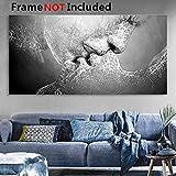 Cuadro de pared Essort, impresión en lienzo, negro y blanco, diseño de beso de amor para sala de estar, dormitorio, restaurante, decoración de hotel, Blanco, 100*60cm