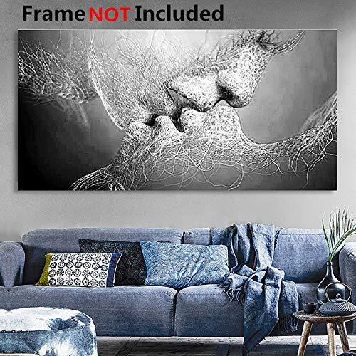 Essort - Cuadro de pared con impresión en lienzo, diseño artístico de beso en blanco y negro para salón, dormitorio, restaurante u hotel, Blanco, 100*60cm