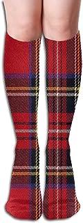 Calcetines hasta la Rodilla con Estampado de búfalo Rojo Medias hasta la Rodilla largas de algodón (50 impresión Completa)