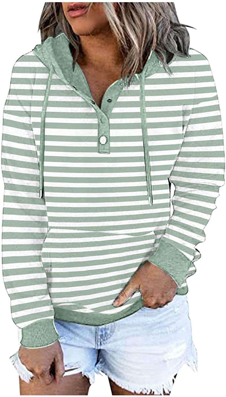 COMVALUE Hoodies for Women,Drawstring Pullover Striped Long Sleeve Button Down V Neck Sweatshirts