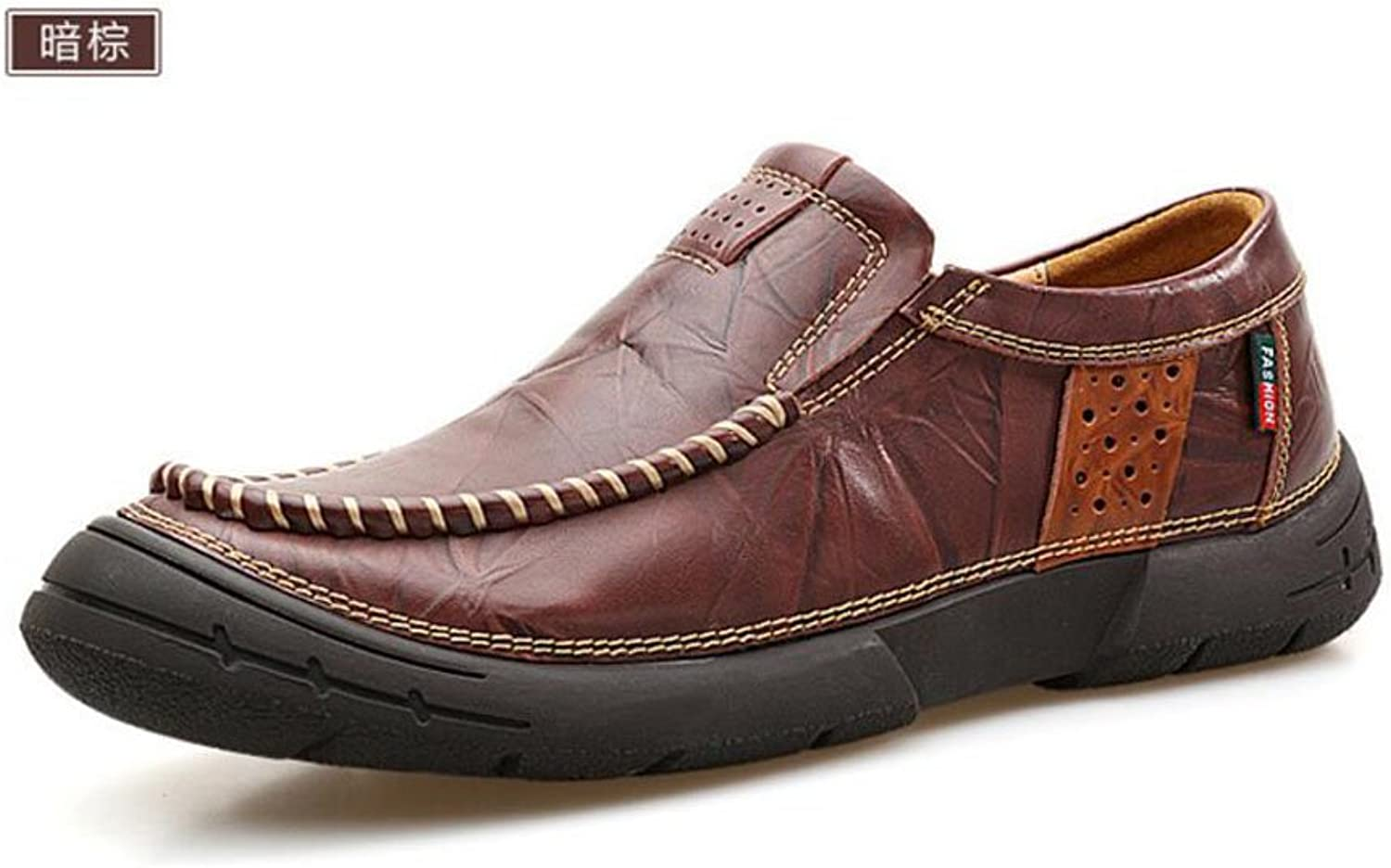 Men Slip-On Oxford shoes British Retro Men First Layer Of Leather Feet Men'S shoes Young Sewing shoes