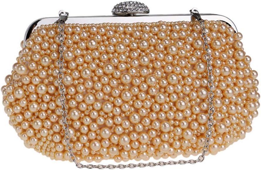 XIAOLULU-SWC Sacs de soirée Perles de soirée en Cristal perlé perlé Femmes Sacs à Main Dames Parties Sacs à Main de Mariage (Couleur : Or) Or