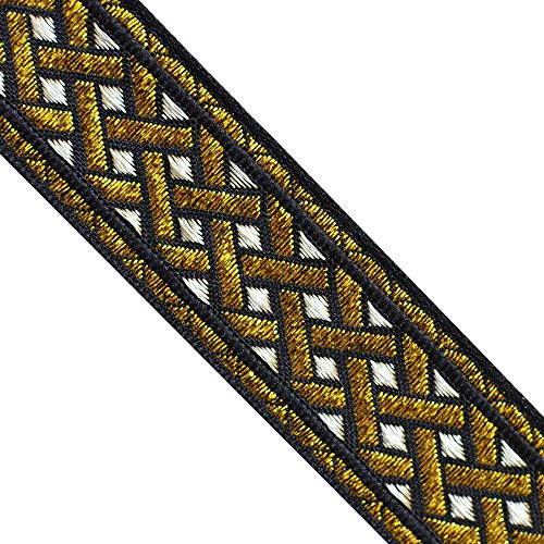 JL 411 Jacquard Metallic Rose Gold Silver Black Celtic Ribbon Trim 1-3/8' (35mm) 5 Yards DIY for Sewing Crafting Home Decor, Wedding, Gift Wrapping hat Bands
