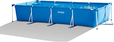 Intex 28279EH 14ft x 33in Puncture Resistant Rectangular Frame Above Ground Backyard Outdoor Swimming Pool with 530 Gallon Fi
