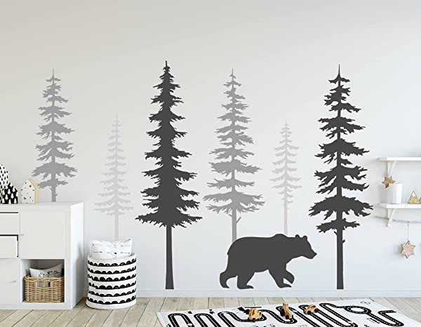 N SunForest Nursery Wall Decals Pine Tree Wall Decals With Large Bear Wall Decal Wall Mural Stickers Nursery Tree Art Nature Wall Decals