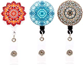 HEYGOO Boho-Inspired Retractable Badge Holder, ID Badge Reel Cord with Alligator Clip (3 Pack)