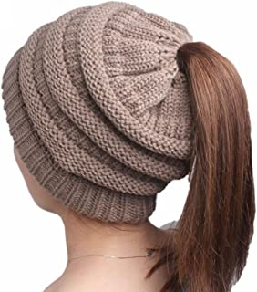 QingFan Unisex Men Women Crochet Warm Winter Boho Knitting Baggy Beanie Hat Braided Head Cap