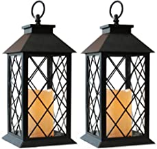 """Bright Zeal 14"""" TALL Black Vintage Candle Lantern with LED Flickering Flameless Candles and Timer (Batteries Included) - C..."""