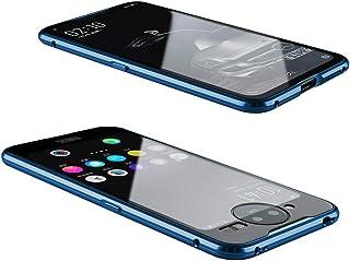 GUANHAO Vivo NEX Dual Display ケース, 磁気吸着 アルミ合金バンパー 強化ガラス 透明バック マグネット式 高級感 傷つきにくい 衝撃吸収 保護ケース ために Vivo NEX Dual Display (ブルー)