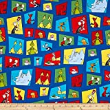Robert Kaufman 0424353 Dr Celebrate Seuss Character Blocks Fabric by The Yard, Blue