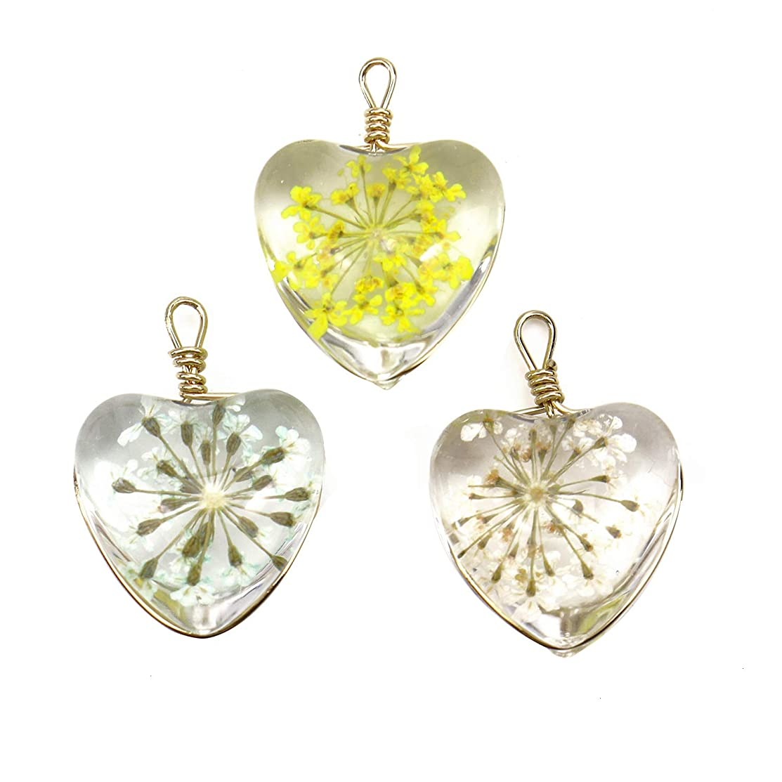 Monrocco 6 Pack Crystal Dried Flower Heart Glass Charms Pendants for Bracelets Jewelry Making