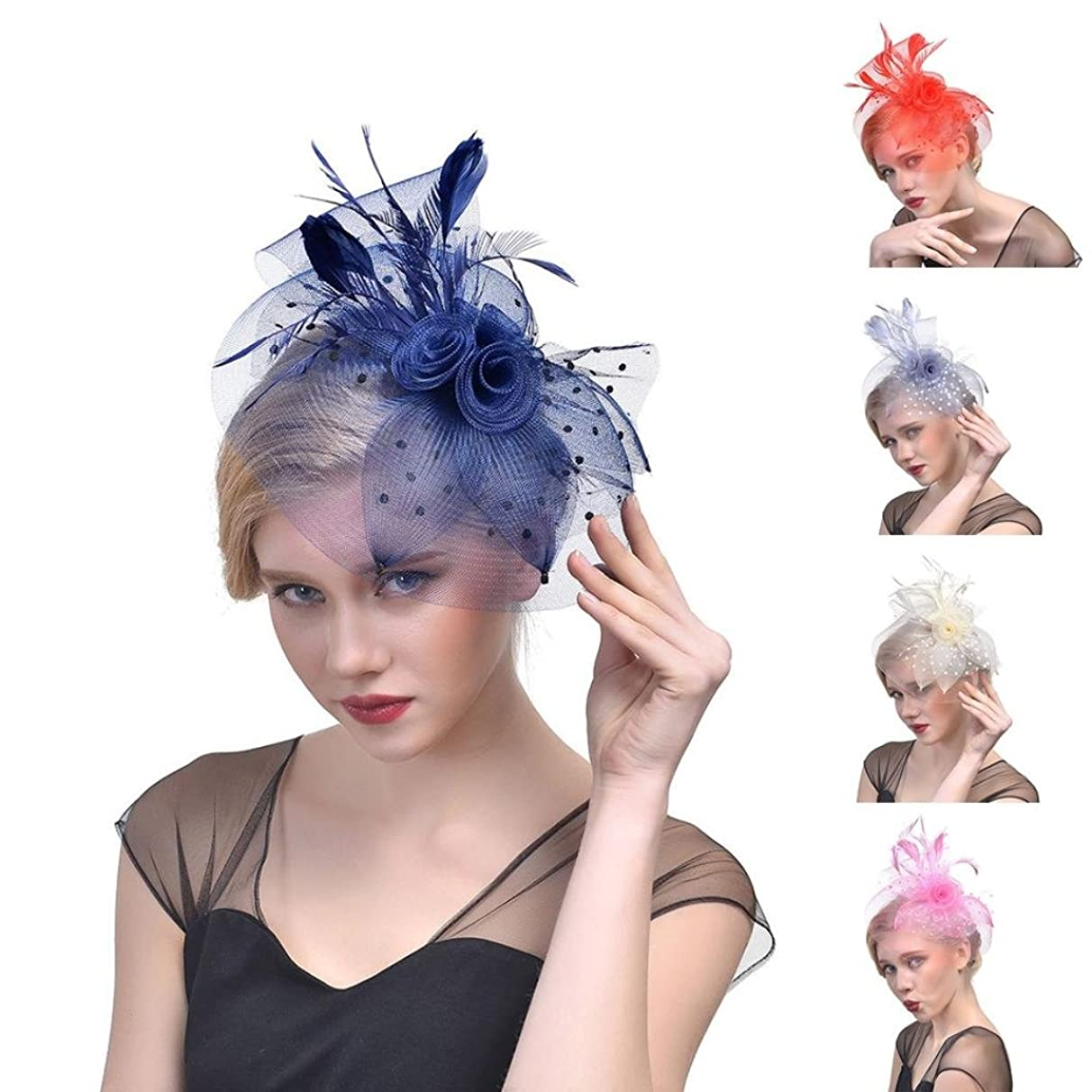Nacome Fascinators Hat Flower Mesh Ribbons Feathers on a Headband and a Clip Tea Party Headwear for Girls and Women
