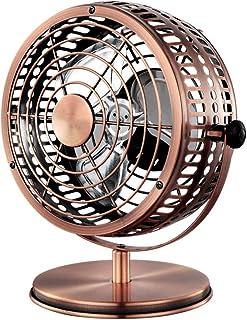 Ventilador enfriamiento sobremesa Retro Meat, configuración 2 velocidades, ventilador mesa giratorio vintage 135 grados, ventilador portátil recargable por USB, para oficina dormitorio, color cobre