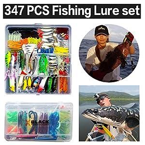 XBLACK Fishing Tackle Kit Set Minnow Crank Spoon Bait Spinner Lure Soft Grubs Shrimp Lure VIB Lure with Sharp Fishing Hooks (347pcs)