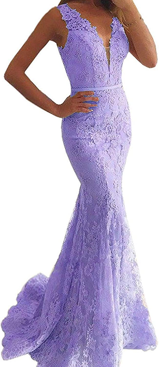 Alexzendra Womens Mermaid Prom Dresses Pink Lace Evening Formal Gown