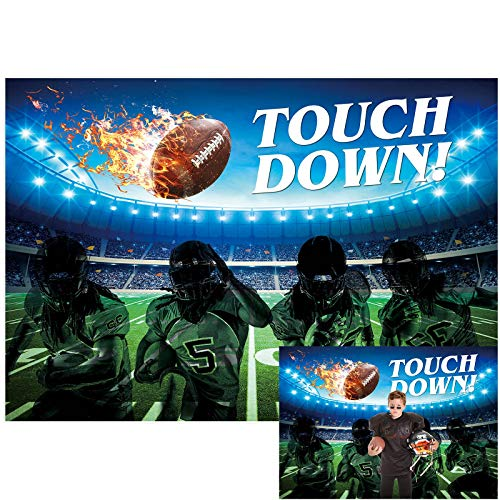 Allenjoy 7x5ft American Football Field Backdrop Stadium Auditorium Spotlight Touch Down Large Scene Photography Background for Kids Children Happy Birthday Party Decor Banner Photo Studio Booth Props