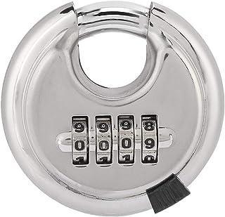 Gojiny Hangslot, 4-cijferig cijferslot, rond, van gehard roestvrij staal, zonder sleutel, rond hangslot, 70 mm dik, 9 5 mm...