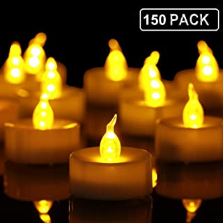 Tea Lights,150 Pack Flameless LED Tealight Candles,Realistic and Bright Flickering Led Bulb, Battery Operated LED Tea Lights Candles. Ideal for Parties, Weddings, Birthdays, Gifts and Home.