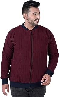 JOHN PRIDE Men's Plus Size Mandarin Collar Maroon Front-Open Sweatshirt
