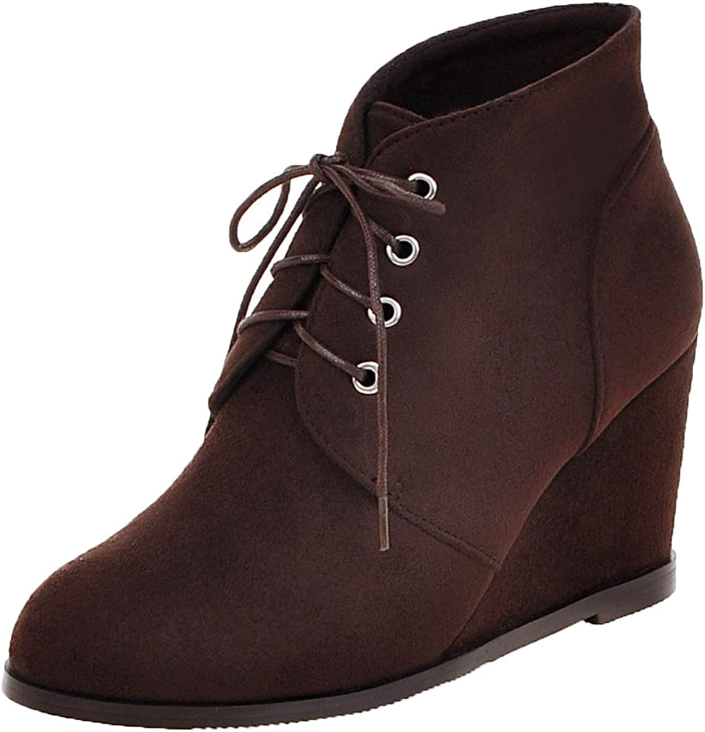 Vitalo Womens High Wedge Heel Lace Up Ankle Boots Ladies Autumn Winter Booties