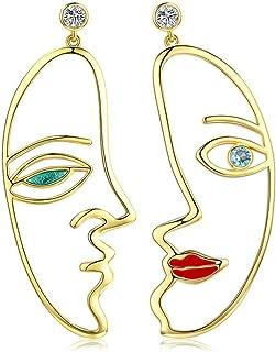 NEWL - Pendientes de mujer, diseño de cara al estilo de Picasso, color plateado, para boda, compromiso, joyería, con circo...