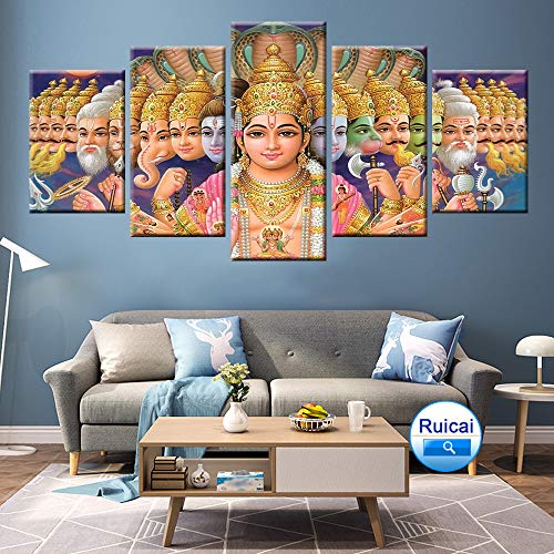 KWzEQ 5 Panel HD Buddha Druck Leinwand Malerei Wohnzimmer Home Dekoration Moderne Wandkunst Poster,Rahmenlose Malerei,30x40cmx2, 30x60cmx2, 30x80cmx1