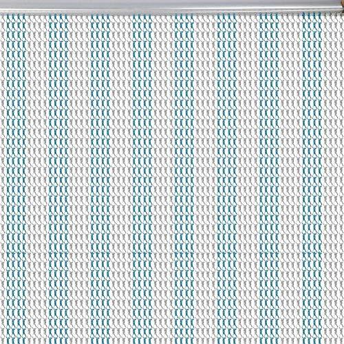 Chian Vorhang, Aluminium Metallkette Vorhang Insekt Tür Kettenglied Fliegenvorhang Bildschirm Vorhang Jalousien Schädlingsbekämpfung Vorhang Fit Alle Standard Türgrößen für Home Shop Blau und Splitter