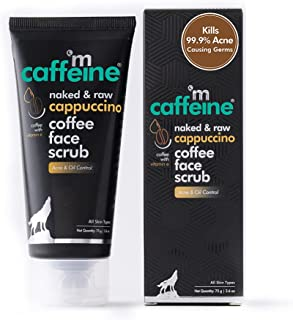 mCaffeine Cappuccino Coffee Face Scrub | Kills 99.9% Acne Causing Germs | Vitamin E, Cinnamon Extracts | All Skin Types | ...