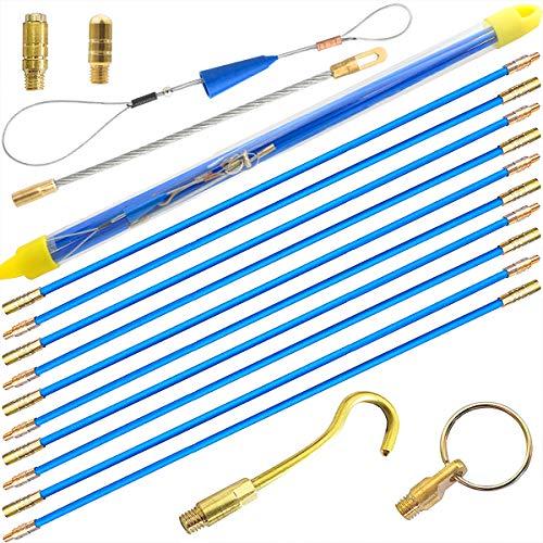 Akuoly Guia pasacables de fibra de vidrio 5,0M Juego de varillas pasacables, 10 x 50cm, Azul