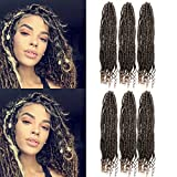 XCCOCO 6 Pack Straight Goddess Locs With Curly Ends Faux Locs Crochet Synthetic Hair 18 Inch Black to Honey Blonde Soft Goddess Locs Synthetic Crochet Braids Hair Extension 80g/pack (T1b/27)