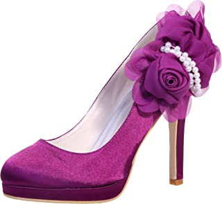 Vimedea Womens Round Toe Platform Heeled Ankle Starps Flower Pearl Dress Pump 6915-07