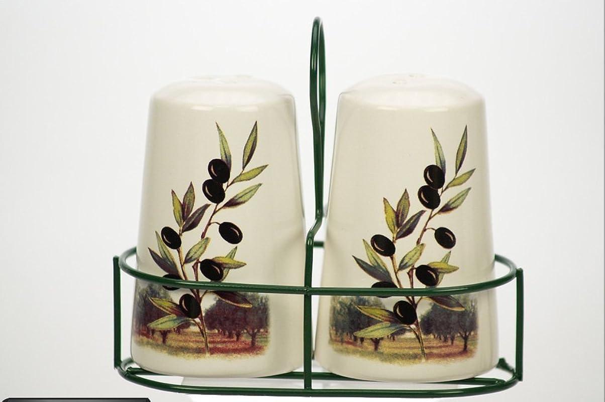 Ceramic Olive Design Salt Pepper Shakers In Wire Holder