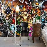 LHBHX Fototapete 3D Foto Selbstklebend (B) 300X (H) 210Cm Film Charakter Liga Fototapete Manga Wandmalerei 3D Tapete Kinderzimmer Büro Hotel Schule Raumdekoration Hero