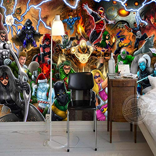 WHYBH 3D Wandbild Schlafzimmer Wandkunst Selbstklebend (B) 400X (H) 280Cm Film Charakter Liga Fototapete Manga Wandmalerei 3D Tapete Kinderzimmer Büro Hotel Schule Raumdekoration Kampf Held