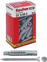 Fischer 50 x 8 x 50 mm UX Ankers met schroef voor massieve muur, geperforeerd baksteen, gipsplaat, 542456