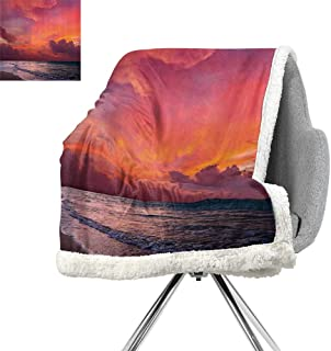 Balinese Decor Collection Digital Printing Blanket,Calm Ocean Shoreline on Tropical Sunrise Bali Indonesia Wavy Sunbeams Scenic,Blue Orange,Warm Blanket W59xL31.5 Inch