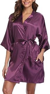 Old-Times Women's Silk Kimono Robes Short Robe Satin Bathrobe for Bridesmaids and Bride Wedding Party
